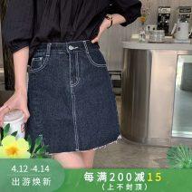 skirt Summer 2021 S,M,L,XL blue Short skirt commute High waist A-line skirt Solid color Type A HZ-XBN21002 other polyester fiber Hand worn, pockets, buttons, stitching Korean version