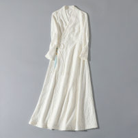 Dress Winter 2020 white S,M,L,XL longuette singleton  Long sleeves commute V-neck middle-waisted Solid color Socket Big swing routine Others 25-29 years old Type A Other / other Retro Tassels, Gouhua, hollowed out, lace, lace SFN-6361 30% and below brocade rabbit 's hair