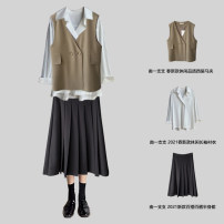 Vest Spring 2021 Jacket 5126 [black], jacket 5126 [Khaki], jacket 5126 [apricot], shirt 1915 [white], shirt 1915 [blue], skirt 5127 [black], skirt 5127 [Khaki] M, L routine V-neck commute Solid color A button zcx5126 other 18-24 years old Other / other 81% (inclusive) - 90% (inclusive) cotton