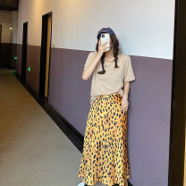 skirt Spring 2021 S, M Yellow leopard print reservation longuette commute High waist A-line skirt Solid color Type A 18-24 years old Other / other polyester fiber