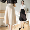 skirt Spring 2021 S,M,L,XL Apricot, black Mid length dress Versatile High waist A-line skirt Solid color Type A 25-29 years old QY66 51% (inclusive) - 70% (inclusive) other other Button
