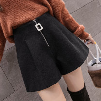 Casual pants Khaki, apricot, dark grey, black S,M,L,XL,2XL Spring 2021 shorts Wide leg pants High waist commute thickening 18-24 years old 31% (inclusive) - 50% (inclusive) QY66 Korean version zipper