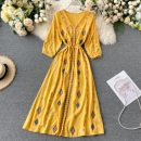Dress Summer 2020 White, red, yellow Average size longuette singleton  three quarter sleeve commute V-neck High waist Solid color Socket Big swing routine Others 18-24 years old Type A Korean version Frenulum 31% (inclusive) - 50% (inclusive) other other