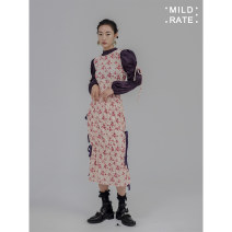Dress Spring 2021 longuette Fake two pieces Long sleeves Sweet Elastic waist Decor puff sleeve MILD RATE Flocking, lace up