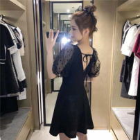 Dress Summer 2021 Black, vest M,L,XL,2XL,3XL singleton  Short sleeve commute middle-waisted Solid color Socket 18-24 years old lady