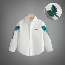 shirt white Other / other male spring and autumn Long sleeves Korean version Solid color cotton Lapel and pointed collar