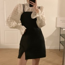 Dress Spring 2021 Apricot shirt, black suspender skirt Average size longuette Two piece set Long sleeves commute Crew neck High waist Solid color other A-line skirt routine camisole 18-24 years old Type H Korean version Splicing 51% (inclusive) - 70% (inclusive) other polyester fiber