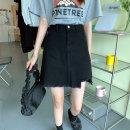 skirt Spring 2021 S,M,L black Short skirt commute High waist Denim skirt Solid color Type A 18-24 years old 30% and below Denim cotton Korean version