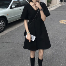 Dress Summer 2020 black Average size Mid length dress singleton  Short sleeve commute V-neck Loose waist Solid color Socket other other Others 18-24 years old Type H Korean version Frenulum 31% (inclusive) - 50% (inclusive) cotton