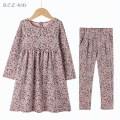 Dress Cherry purple comminuted flower high elastic high waist long sleeve dress, cherry purple comminuted flower pure cotton through high elastic leggings, high elastic dress + high elastic leggings female Other / other 4A(104cm),5A(110cm),6A(116cm),7A(122cm),8A(128cm),10A(140cm),12A(152cm) summer