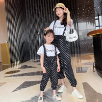 Parent child fashion Beyonce female Women's dress suit summer Korean version Thin Dot suit Chiffon M,S Cotton 90% other 10% 2 years old, 3 years old, 4 years old, 5 years old, 6 years old, 8 years old, 9 years old 120cm, 130cm, 140cm, 100cm, 90cm, 110cm, mom s, mom M black