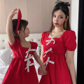Parent child fashion gules Women's dress female Beyonce 80cm, 90cm, 100cm, 110cm, 120cm, 130cm, mom m (90-120kg) Red bow skirt summer Korean version routine Solid color skirt cotton M Other 100% Class B Chinese Mainland