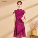 Dress Summer 2021 rose red 2/M 4/L 6/XL 8/XXL 10/3XL longuette singleton  Short sleeve stand collar middle-waisted Solid color routine 30-34 years old D'modes DC050971920 71% (inclusive) - 80% (inclusive) other Viscose fiber (viscose fiber) 71.6% others 28.4%