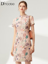 Dress Summer 2020 Pink 2/M 4/L 6/XL 8/XXL 10/3XL Middle-skirt singleton  Short sleeve commute stand collar middle-waisted Decor Socket A-line skirt other Others 30-34 years old D'modes lady Zipper printing More than 95% polyester fiber Polyester 95.2% polyurethane elastic fiber (spandex) 4.8%