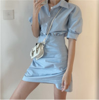 Women's large Summer 2020 Blue, black It is suggested that the size of the recommended size is 120-40kg, and it is recommended to use the size of 120-40kg Dress singleton  commute Self cultivation moderate Conjoined Short sleeve Korean version other 18-24 years old Short skirt