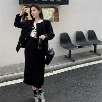 Women's large Winter 2020, autumn 2020 Black coat, off white coat, black skirt, off white skirt It is suggested that the size of the recommended size is 120-40kg, and it is recommended to use the size of 120-40kg Two piece set commute Self cultivation thick Cardigan Long sleeves Solid color routine