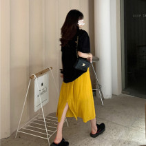 skirt Summer 2021 S,M,L,XL Yellow [skirt], black [skirt], pink [skirt], blue [T-shirt], white [T-shirt], gray [T-shirt], black [T-shirt] Mid length dress commute High waist Pleated skirt Solid color Type A 18-24 years old three point six nine 51% (inclusive) - 70% (inclusive) Other / other other