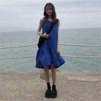 Dress Summer of 2018 Blue black Average size Mid length dress singleton  Sleeveless commute Crew neck Loose waist Solid color Socket Ruffle Skirt other Others 18-24 years old Type A Korean version Lotus leaf edge More than 95% cotton