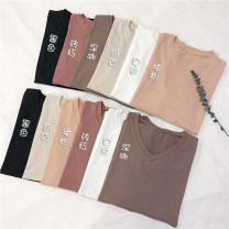 T-shirt White, black, orange powder, deep coffee, milk apricot, brick red, sling [white] Crew neck, V-neck Spring 2021 Short sleeve easy routine commute cotton 51% (inclusive) - 70% (inclusive) 18-24 years old Simplicity Other / other
