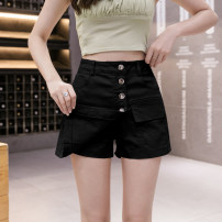skirt Summer 2021 S,M,L,XL,2XL White, black, apricot, red Short skirt Versatile High waist Irregular Solid color Type A 25-29 years old 81% (inclusive) - 90% (inclusive) Denim Other / other cotton Button, zipper