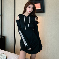 Dress Autumn 2020 Gray, white, black S,M,L,XL,2XL longuette singleton  Long sleeves commute Hood Loose waist Solid color Socket A-line skirt routine 18-24 years old Other / other Korean version Splicing cotton