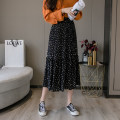 skirt Spring 2021 One size fits all (85-130) skirt length 75cm Black and white Mid length dress commute High waist Pleated skirt Dot Type A 18-24 years old Chiffon Touishio / extravagance printing Korean version