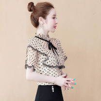 Lace / Chiffon Summer 2020 Apricot, red, black [skirt] S,M,L,XL,2XL Short sleeve commute Socket singleton  easy Regular Lotus leaf collar Dot Lotus leaf sleeve RDXFS20200418288 Korean version 81% (inclusive) - 90% (inclusive)