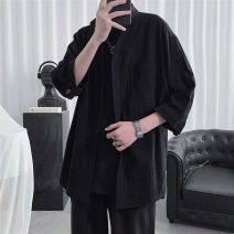 shirt Youth fashion You Lin M L XL 2XL 3XL 4XL 5XL Black White army green Thin money stand collar three quarter sleeve easy Other leisure summer YL021012acf1 teenagers Cotton 100% tide 2021 Solid color Linen Spring 2021 other Pure e-commerce (online only)