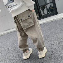 trousers Changing trend children male 110cm,120cm,130cm,140cm,150cm,160cm,170cm Army green, black, army green summer, black summer spring and autumn trousers leisure time There are models in the real shooting Casual pants Leather belt middle-waisted Pure cotton (100% content) Don't open the crotch