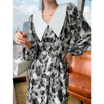 Dress Autumn 2020 Black, white and grey [this is suitable for both fat and thin] Average size Mid length dress singleton  Long sleeves commute Doll Collar Loose waist Decor Socket A-line skirt puff sleeve Type A Korean version Stitching, printing MD20200805LYQ4