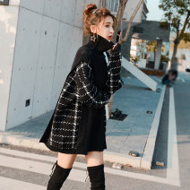 sweater Autumn of 2019 S M L Long sleeves Socket Fake two pieces Medium length other 95% and above High collar Regular commute routine lattice Straight cylinder Regular wool Keep warm and warm 25-29 years old Simple petal Other 100% Pure e-commerce (online only)