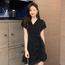 Dress Summer 2021 black S,M,L,XL Short skirt singleton  Short sleeve commute other High waist Solid color Socket other routine Others 18-24 years old Type A Other / other Korean version