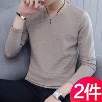 T-shirt Youth fashion routine 165/M 170/L 175/XL 180/2XL 185/3XL Installation strategy Long sleeves V-neck Self cultivation daily spring Polyester fiber 56.2% cotton 41.8% polyurethane elastic fiber (spandex) 2% teenagers routine tide other Autumn of 2018 Solid color Button decoration cotton