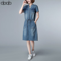 Dress Summer 2020 Denim blue M L XL Mid length dress singleton  Short sleeve commute stand collar Elastic waist Solid color other other routine Others 40-49 years old Type A dpqb Korean version Pocket lace up stitching D20BXLSZ1998 More than 95% cotton Cotton 100% Pure e-commerce (online only)