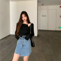 skirt Spring 2021 S. M, l, average size Black top 915, blue skirt 145# Short skirt commute High waist Type A 18-24 years old Other / other Korean version