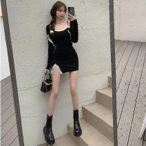 Dress Spring 2021 Grey skirt, grey coat, black skirt, black coat Average size Short skirt singleton  commute High waist 18-24 years old Type A Other / other Korean version