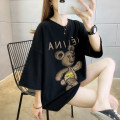 T-shirt White, black M,L,XL,2XL Summer 2021 Short sleeve Crew neck easy Regular routine commute cotton 31% (inclusive) - 50% (inclusive) 18-24 years old Korean version Cartoon animation rihangwanggou three thousand and forty-five # Scalding beads