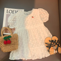 Dress Cream white (pre sold to warehouse at the end of April) female Xiaomu 1 (for 80cm), 2 (for 90cm), 3 (for 100cm), 4 (for 110cm), 5 (for 120cm), 6 (for 130cm) Cotton 90% other 10% summer Korean version Short sleeve Solid color other A-line skirt Chinese Mainland