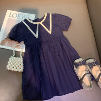 Dress Navy Blue (pre sold around April 24) female Xiaomu 1 (for 80cm), 2 (for 90cm), 3 (for 100cm), 4 (for 110cm), 5 (for 120cm), 6 (for 130cm) Cotton 90% other 10% summer Korean version Short sleeve Solid color other A-line skirt Chinese Mainland