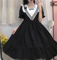 Dress Summer 2020 black Average size Middle-skirt singleton  Short sleeve Sweet Admiral High waist Socket 18-24 years old Type A 9605#