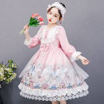 Dress female Other / other The recommended height is about 110cm for Size 120, 120cm for Size 130, 130cm for size 140, 140cm for size 150, 150cm for size 160 and 160cm for size 170 Other 100% spring and autumn Korean version Long sleeves Solid color other A-line skirt Chinese Mainland