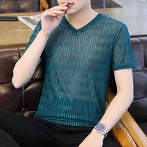 T-shirt Youth fashion 7761 white 7761 black 7761 red 7761 Khaki 7761 coral blue thin 165/M 170/L 175/XL 180/2XL 185/3XL Emperor state Short sleeve V-neck Self cultivation Other leisure summer CLCZ-7761BE Polyester fiber 90% polyurethane elastic fiber (spandex) 10% youth routine tide Summer 2021 other