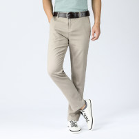 Casual pants Hongkong Expo Fashion City Zqk618 Khaki zqk618 gray zqk618 Navy zqk618 white 29 30 31 32 33 34 35 36 38 40 thin trousers go to work easy Micro bomb gsb-zqk2199 summer youth Business Casual 2020 middle-waisted Straight cylinder Viscose 60.8% flax 29.8% cotton 9.4% Pocket decoration