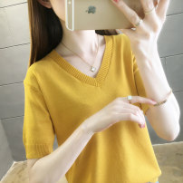 T-shirt Grey purple rose yellow black S M L XL Summer 2021 Short sleeve V-neck easy Regular routine commute Viscose 31% (inclusive) - 50% (inclusive) Korean version youth Solid color Banzi F7506 Viscose (viscose) 50% polyester 30% polyamide (nylon) 20% Pure e-commerce (online only)