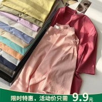 T-shirt Orange, blue, purple, apricot, white, black, Navy, yellow, gray blue, pink, mint, flower gray, carbon gray, plum red, bean green Average size Summer 2021 Short sleeve Crew neck easy Regular routine commute cotton 96% and above 18-24 years old Korean version youth Solid color Other / other