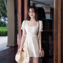 one piece  GUD M,L,XL Light yellow, light purple, meat powder Skirt one piece With chest pad without steel support Nylon, spandex, polyester, others female Short sleeve Casual swimsuit Solid color Bright silk