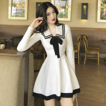 Dress Spring 2021 White black S M L Short skirt singleton  Long sleeves commute Crew neck High waist Solid color Socket other routine Others 18-24 years old Type X Mood color Korean version Bowknot stitching CL28-18 More than 95% knitting other Other 100% Pure e-commerce (online only)
