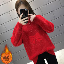 sweater Autumn of 2019 S M L XL Yellow green red Khaki Pink Purple Plush Khaki Plush Pink Purple Plush red Long sleeves Socket singleton  Regular other 95% and above Half high collar thickening commute routine Solid color Straight cylinder Regular wool Keep warm and warm 25-29 years old Color J12400