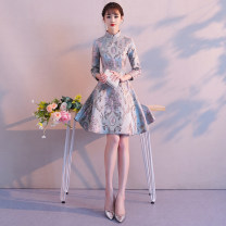 cheongsam Autumn of 2018 S M L XL XXL 895 suede digital printing non positioning pattern 698 jacquard embroidery pink Roman plain Long sleeves Short cheongsam grace No slits daily Oblique lapel Decor 25-35 years old Embroidery LQ895 Nemore other Other 100% Pure e-commerce (online only)