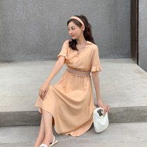 Dress Summer 2020 White, orange S,M,L,XL Mid length dress singleton  Short sleeve Sweet V-neck High waist Solid color Socket other routine Others 18-24 years old Type H Keely / Yi · Li EW20X1033D 31% (inclusive) - 50% (inclusive) nylon princess